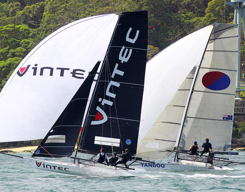Vintec and Yandoo were in the top four on the first spinnaker run - 2019 18ft Skiff Spring Championship - photo © Frank Quealey