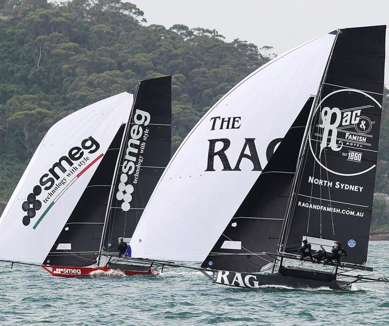 Smeg and Rag and Famish Hotel, two of the teams vying for the title - 18ft Skiff NSW Championship 2019 photo copyright Frank Quealey taken at Australian 18 Footers League and featuring the 18ft Skiff class
