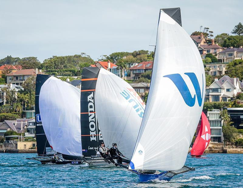 Winning Group lies seccond overall - 18ft skiffs - JJ Giltinan Championship - March 17, 2020 - Day 3 - Sydney Harbour photo copyright Michael Chittenden taken at Australian 18 Footers League and featuring the 18ft Skiff class