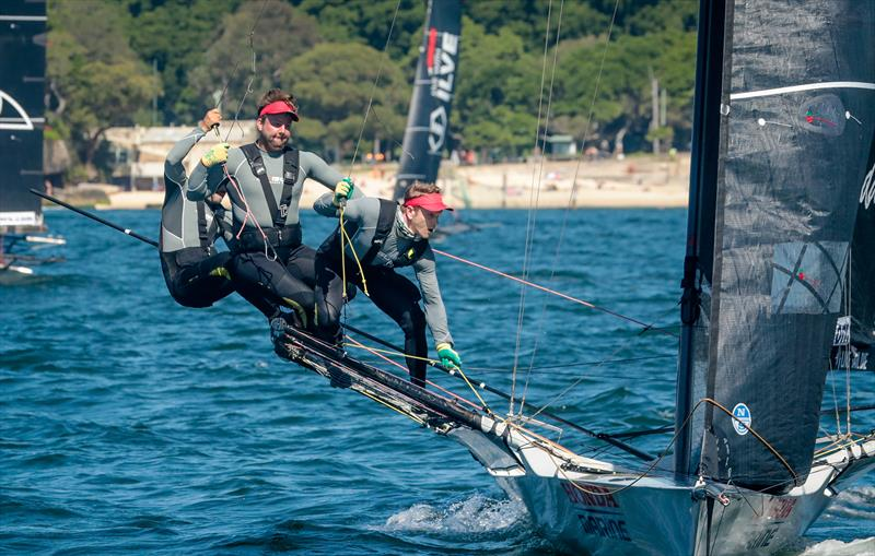 Dave McDiarmid, Matt Steven and Brad Collins - Honda Marine - JJ Giltinan 18ft Championships - March 2020 - Sydney Harbour photo copyright Michael Chittenden taken at Australian 18 Footers League and featuring the 18ft Skiff class