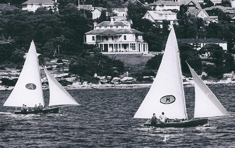 Myra Too (Bill Barnett) and Ajax (Don Barnett) work into Rose Bay - photo © Frank Quealey