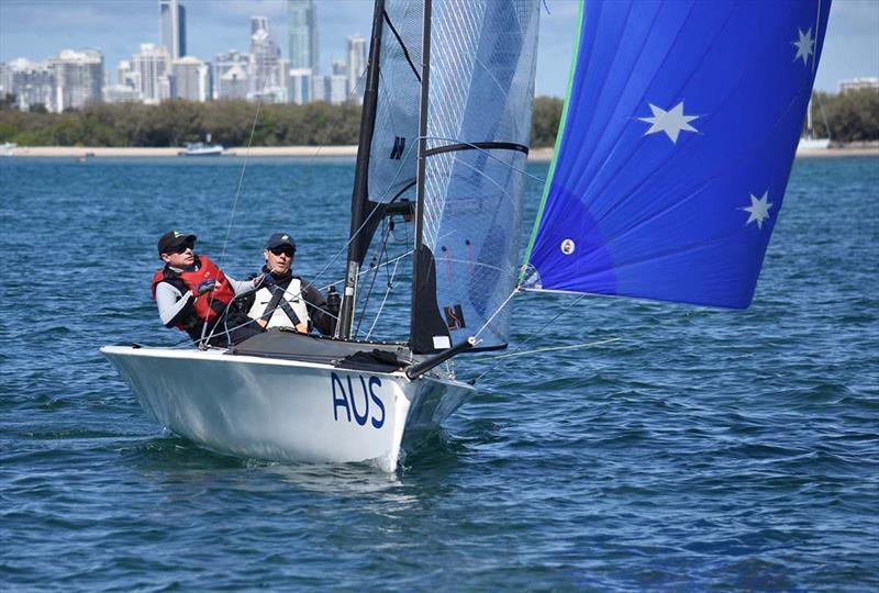 Dan Fitzgibbon and his Rio2016 Gold Medal winning SKUD 18 were back on the water after three years to contest the Para Nationals with crew Brett Pearce. - photo © David Staley