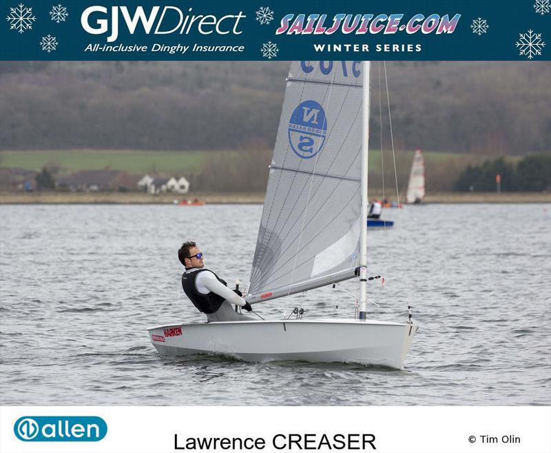 Lawrence Creaser during the GJW Direct Sailjuice Winter Series Oxford Blue photo copyright Tim Olin / www.olinphoto.co.uk taken at Oxford Sailing Club and featuring the Solo class