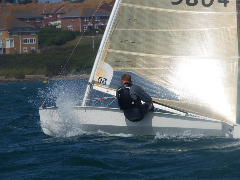 Class Championship Organiser Steve Ede battles upwind on day 2 of the Solo Nationals at the WPNSA - photo © Will Loy