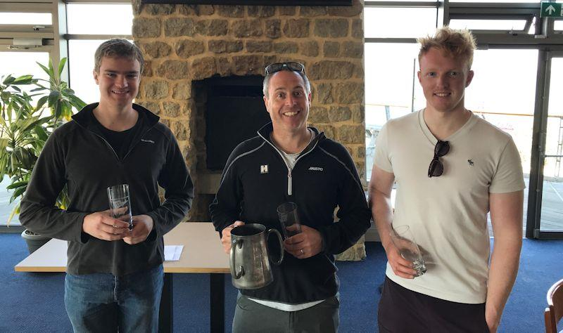 (L to R) Alex Butler, Richard Lovering, Oliver Davenport, winners at the Solo class Tyler Trophy at Hayling Island photo copyright Doug Latta taken at Hayling Island Sailing Club and featuring the Solo class