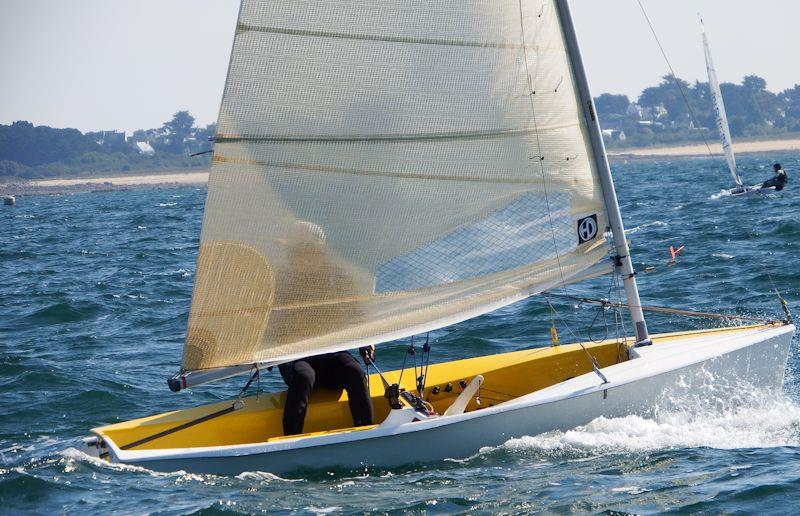 Hendrik Battiau (BEL) works upwind on day 2 of the Magic Marine Solo Nation's Cup in Carnac - photo © Will Loy
