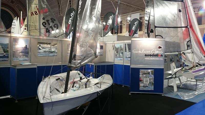 Solution Class stand at the RYA Suzuki Dinghy Show photo copyright Kathryn Clark taken at RYA Dinghy Show and featuring the Solution class