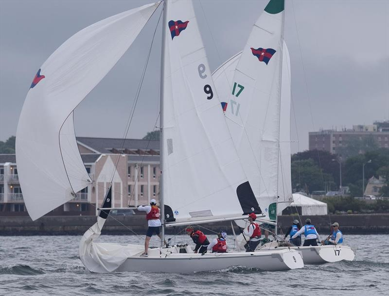 St. Francis Yacht Club, in blue pinnies, battles the New York Yacht Club team led by Erik Storck - 2018 New York Yacht Club Invitational Team Race for the Morgan Cup - photo © Susan Daly