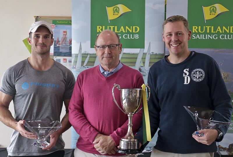 Josh Metcalfe (left) and Mark Hogan (right) are presented with the Squib Inlands Trophy by Rutland Squib Captain Peter Dale (centre) - photo © RSC