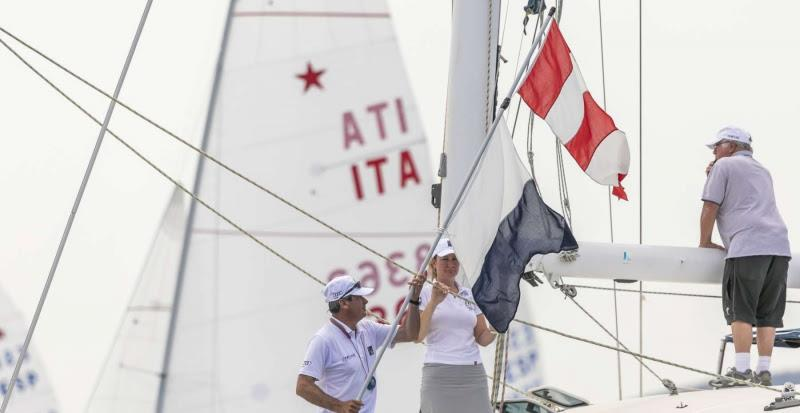 The Race Committee hoists the AP over Alpha flags - Star World Championship 2019. - photo © YCCS / Studio Borlenghi