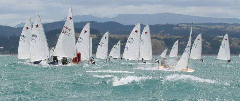 Starling Nationals, Napier 2011. #1146 (Charles Corston) followed by #1054 (Sam Herron), #1150 (Andrew McKenzie) and #1182 (George Anyon) lead the fleet around a bottom mark as a 30-knot-plus wind bullet smashes the front runners. - photo © Napier Sailing Club