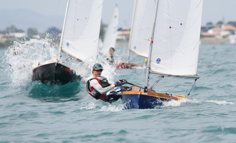 George Anyon working his way through large swells at the 2011 Napier National Championships. - photo © Napier Sailing Club