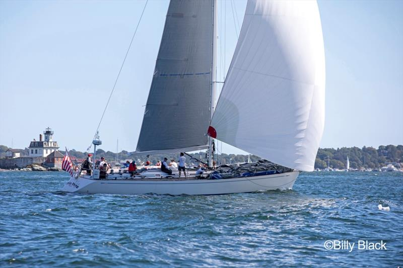 Todd Stuart's Swan 56 White Rhino passes Rose Island in Newport, RI during the Sail for Hope Race. photo copyright Billy Black taken at  and featuring the Swan class