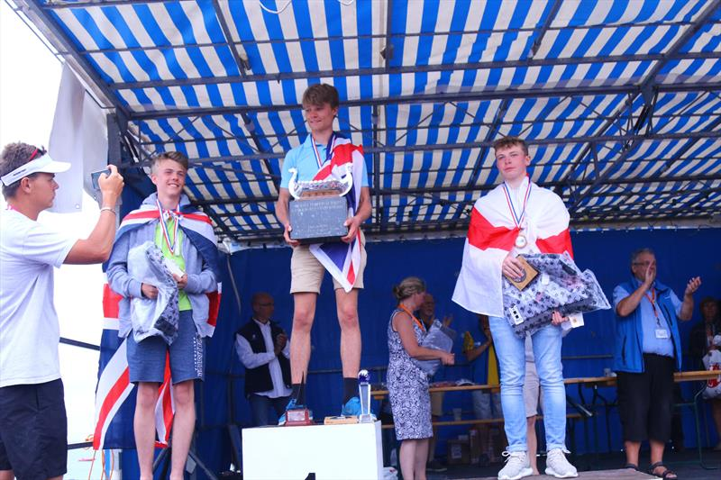 The 5.3 podium at the Rooster Topper World Championships 2017 photo copyright Simon McIlwaine / www.wavelengthimage.com taken at Le cercle nautique de Loctudy and featuring the Topper class