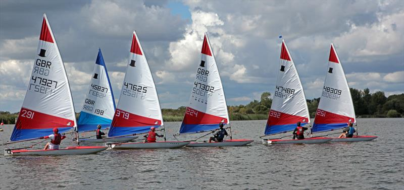 Toppers, winner Tom Thwaites is in 47625, at the Broadland Youth Regatta photo copyright Robin Myerscough taken at Waveney & Oulton Broad Yacht Club and featuring the Topper class