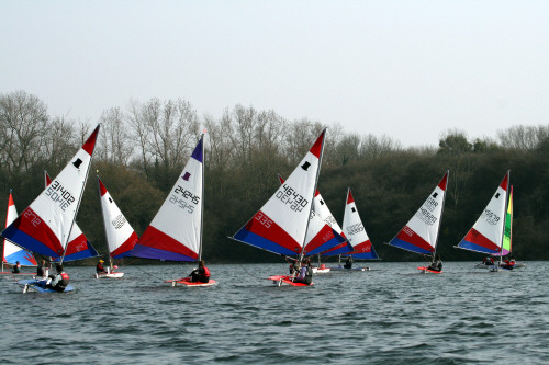 Racing during the Topper open at Great Moor SC photo copyright Sue Johnson taken at Great Moor Sailing Club and featuring the Topper class