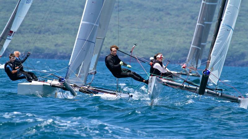 Top mark queue - Race 9 - Int Tornado Worlds - Day 5, presented by Candida, January 10, 2019 photo copyright Richard Gladwell taken at Takapuna Boating Club and featuring the Tornado class