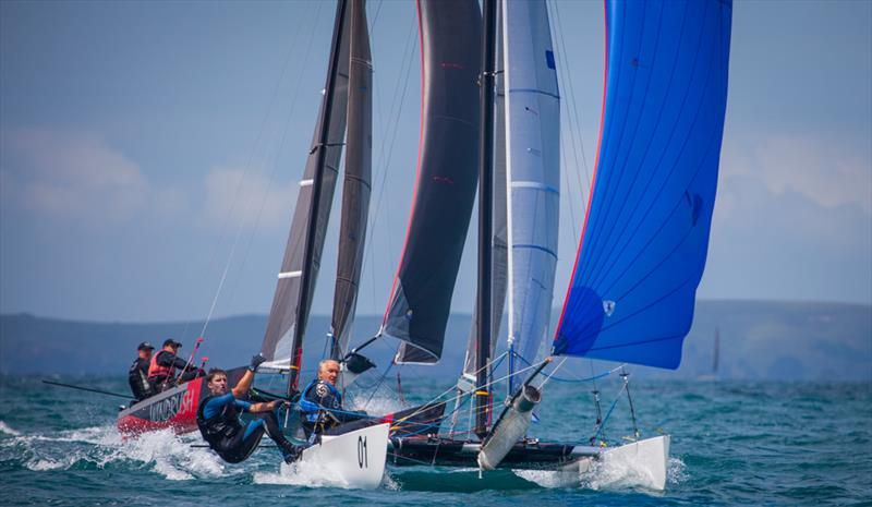 Rex and Brett Sellers lead the way on Race 10 - 2019 Tornado World Championships - Day 5 photo copyright Suellen Davies taken at Takapuna Boating Club and featuring the Tornado class