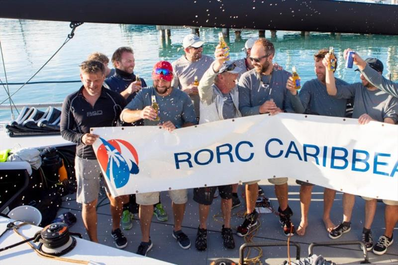 Tilmar Hansen from Kiel, Germany celebrates his birthday after completing the race with his team on TP52 Outsider - 2020 RORC Caribbean 600 - photo © RORC / Arthur Daniel