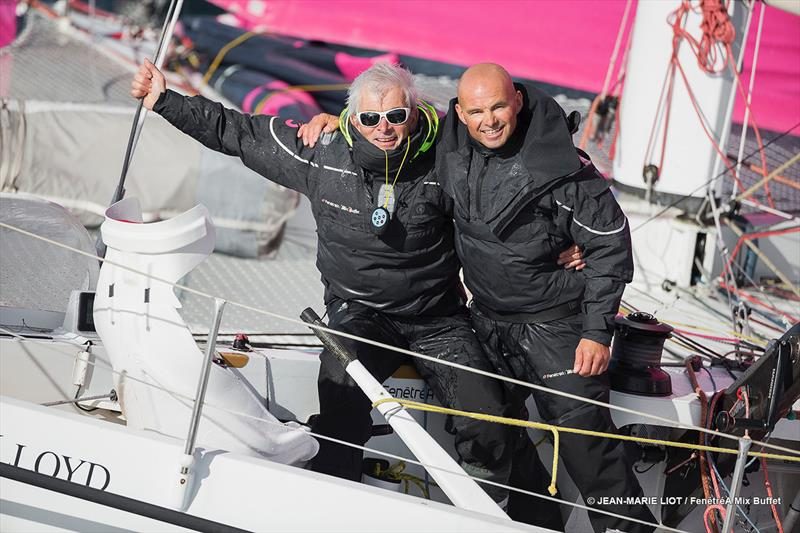 Erwan Le Roux and Vincent Riou aboard The Multi 50 FenetreA Mix Buffet photo copyright Jean-Marie LIOT / FenetreA Mix Buffet taken at  and featuring the Trimaran class