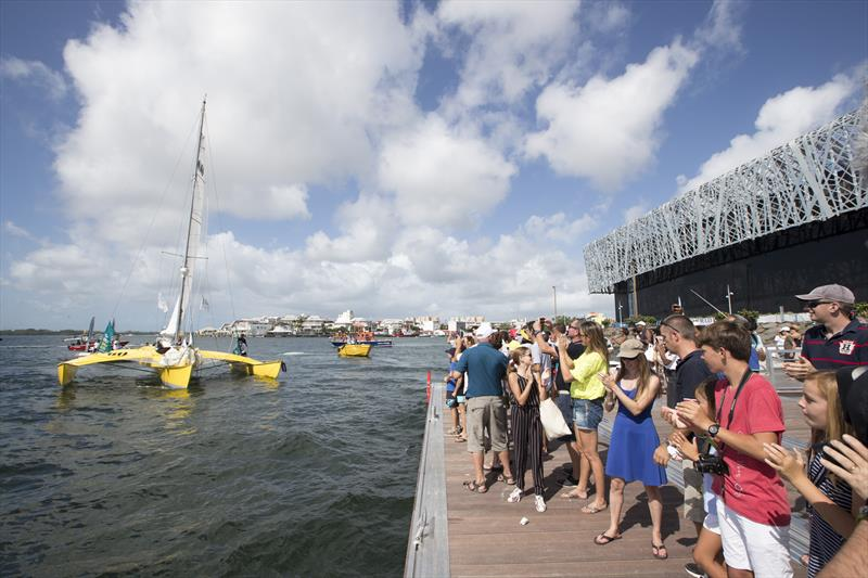Crowds lined the pontoons and breakwaters at Pointe-à-Pitre's Memorial ACTe to greet Loïck Peyron and Happy after finishing the Route du Rhum-Destination Guadeloupe - photo © Alexis Courcoux