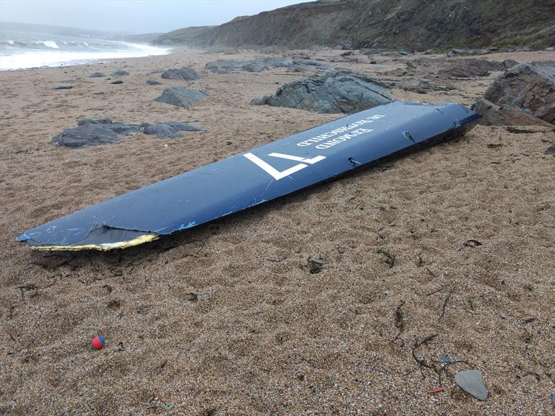 The bow section of Gitana 17 washes up on the beach at Gunwalloe Fishing Cove, Cornwall - photo © John Mee