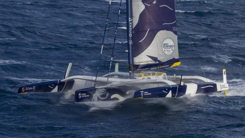 2019 Brest Atlantiques start photo copyright Alexis Courcoux / Brest Atlantiques taken at  and featuring the Trimaran class