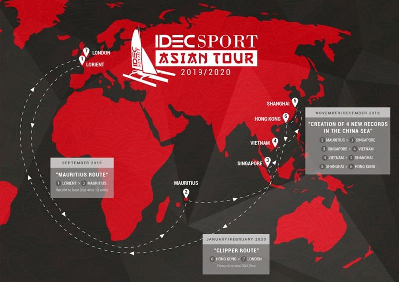 Map of the IDEC SPORT-Asian Tour 2019-2020 - photo © IDEC Sport