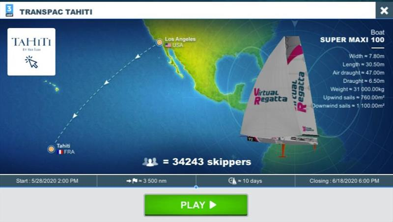 Over 34,000 players at the virtual start of the Transpac Tahiti Race
