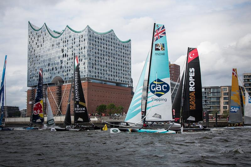The fleet race in front of the Elbphilharmonie on day 1 of Extreme Sailing Series Act 5, Hamburg - photo © Jesus Renedo / OC Sport