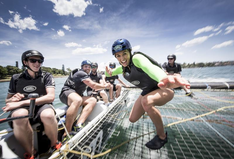 Land Rover Australia ambassador Sally Fitzgibbons 'surfs' an Extreme 40 as fellow ambassador Phil Waugh puts his sailing skills to the test on day 2 of Extreme Sailing Series™ Act 8, Sydney - photo © Lloyd Images