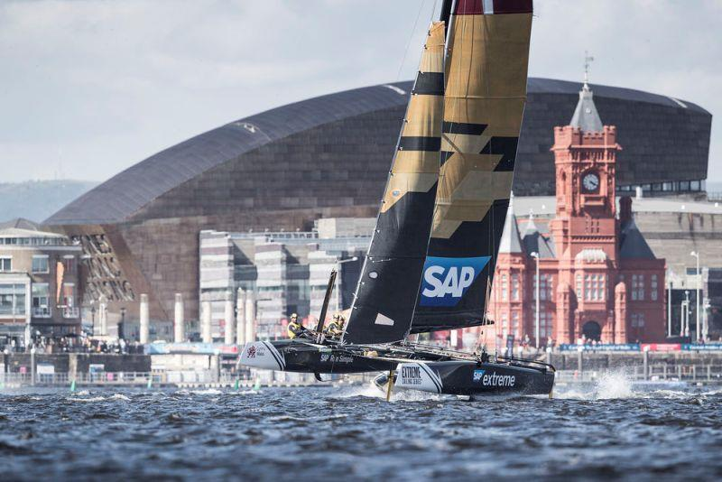 Extreme Sailing Series Act 3, Cardiff 2016 - Day Two - SAP Extreme Sailing Team photo copyright Lloyd Images taken at  and featuring the Extreme 40 class