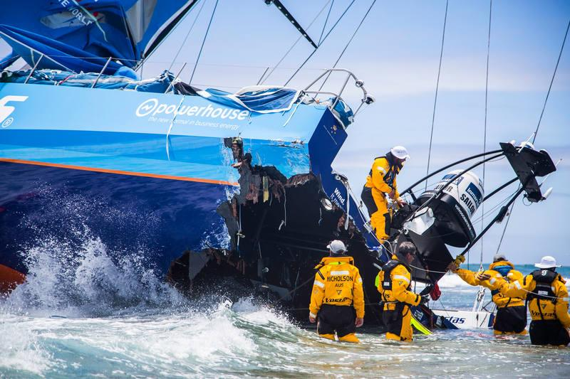 Team Vestas Wind aground on a reef on Cargados Carajos Shoals, Mauritius - photo © Brian Carlin / Team Vestas Wind / Volvo Ocean Race