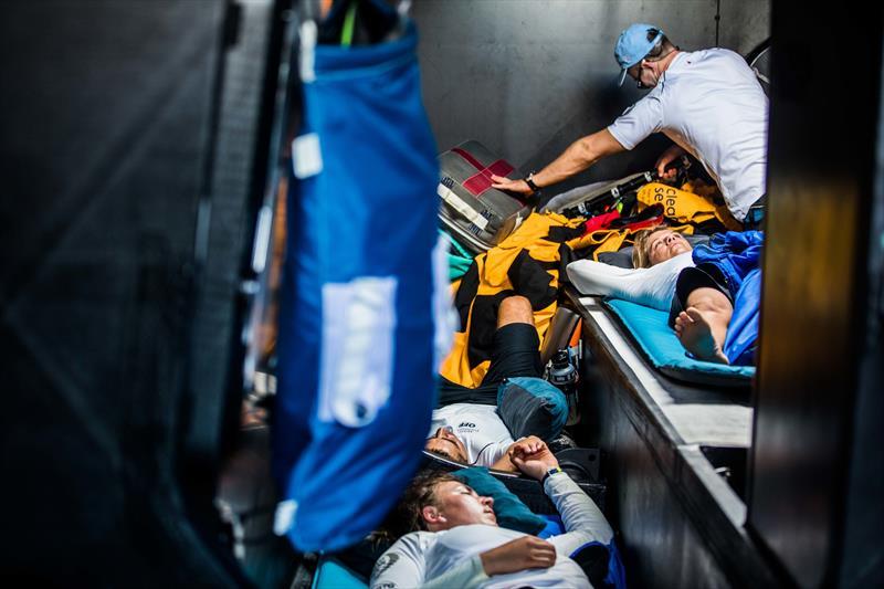 4 hours on, 4 hours off - the Turn the Tide on Plastic crew grab some rest in between sailing shifts - photo © Jen Edney / Volvo Ocean Race