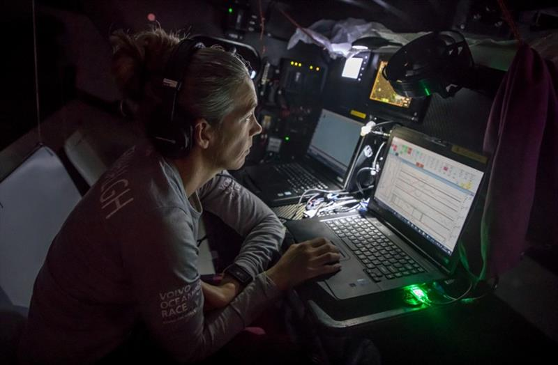 Volvo Ocean Race Leg 6 to Auckland, day 03 on board Sun hung Kai / Scallywag. Libby Greenhalgh, took the decision to go North and is now checking the forecast to come. 09 February photo copyright Jeremie Lecaudey / Volvo Ocean Race taken at  and featuring the Volvo One-Design class