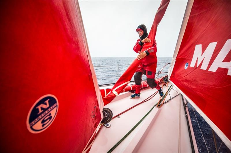 Volvo Ocean Race Leg 6 to Auckland, day 06 on board MAPFRE, Sophie Ciszek during a pilling. 12 February photo copyright Ugo Fonolla / Volvo Ocean Race taken at  and featuring the Volvo One-Design class