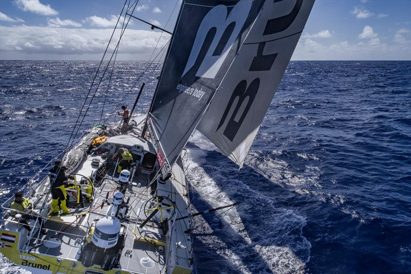 Leg 6 to Auckland, Day 7 on board Brunel. Sail change. Drone. 13 February, . photo copyright Yann Riou / Volvo Ocean Race taken at  and featuring the Volvo One-Design class