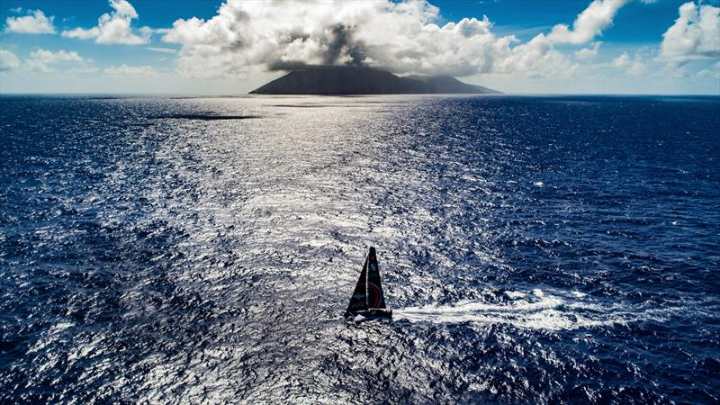 Leg 6 to Auckland, Day 7 on board Sun hung Kai / Scallywag. Islands. Drone shots. Crossing path with USA territory islands, looked like a small volcano from the boat.13 February, . photo copyright Jeremie Lecaudey / Volvo Ocean Race taken at  and featuring the Volvo One-Design class