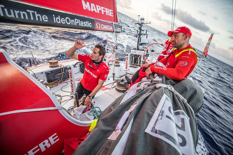 Leg 6 to Auckland, Day 7 on board MAPFRE, Blair Tuke talking with Xabi Fernandez on deck. 13 February, . photo copyright Ugo Fonolla / Volvo Ocean Race taken at  and featuring the Volvo One-Design class