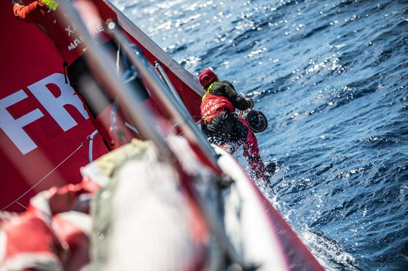 Volvo Ocean Race Leg 8 from Itajai to Newport, day 05, on board MAPFRE, Blair Tuke on the bowpress - photo © Ugo Fonolla / Volvo Ocean Race