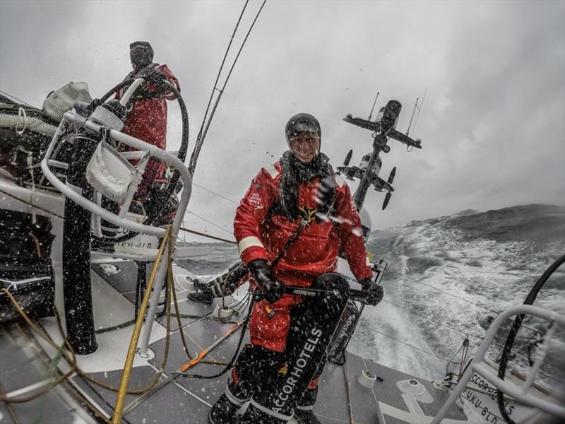 Volvo Ocean Race Leg 10, from Cardiff to Gothenburg, day 5, on board Sun Hung Kai / Scallywag. Liuke Parkinson standing by on the mainsheet trim. - photo © Konrad Frost / Volvo Ocean Race