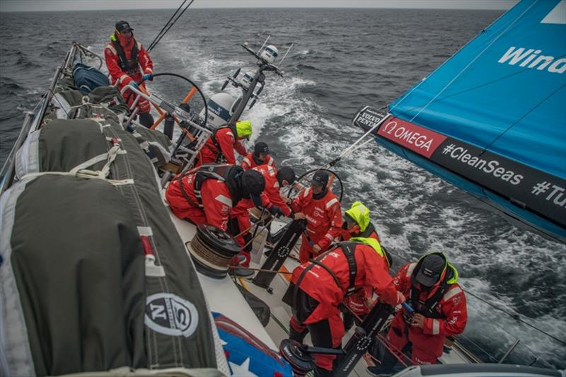 Volvo Ocean Race Leg 10, from Cardiff to Gothenburg, day 04, on board Vestas 11th Hour. Everybody up on deck to change sails. - photo © Jeremie Lecaudey / Volvo Ocean Race