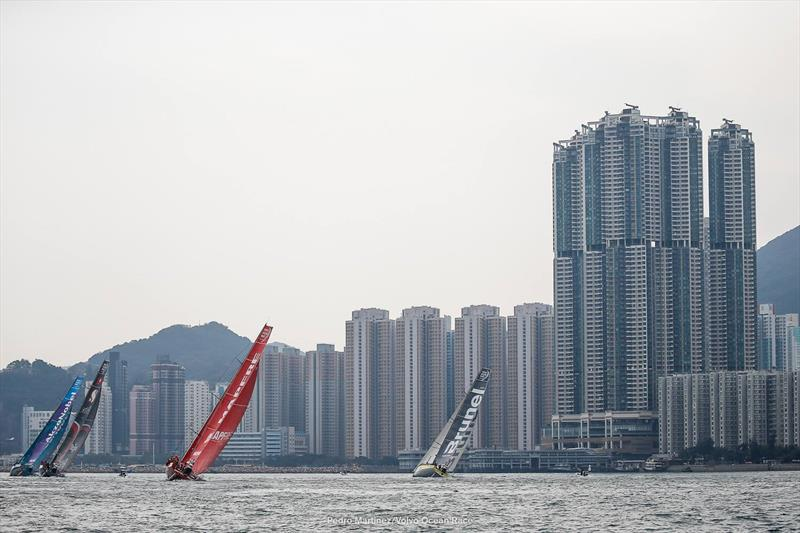 Spectacular backdrops in Hong Kong - Volvo Ocean Race In Port - February 7, 2018 photo copyright Pedro Martinez / Volvo Ocean Race taken at Royal Hong Kong Yacht Club and featuring the Volvo One-Design class
