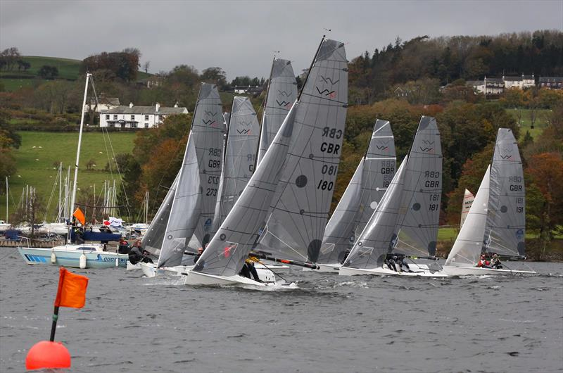 VX One Inlands fleet lining up for the start during the Ullswater Asymmetric Weekend photo copyright Tim Olin / www.olinphoto.co.uk taken at Ullswater Yacht Club and featuring the VX One class