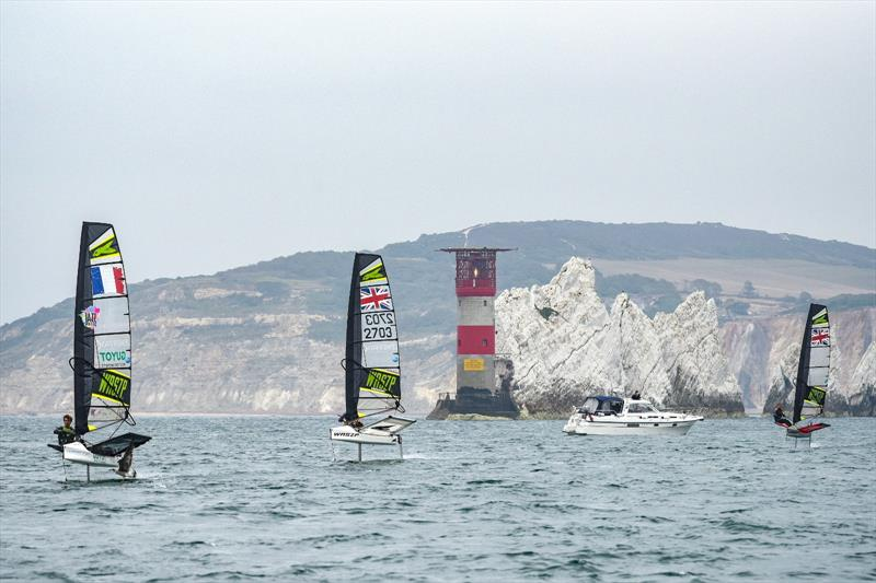 The Foil for Life Challenge by Lemer Pax sails past the Needles - photo © James Tomlinson