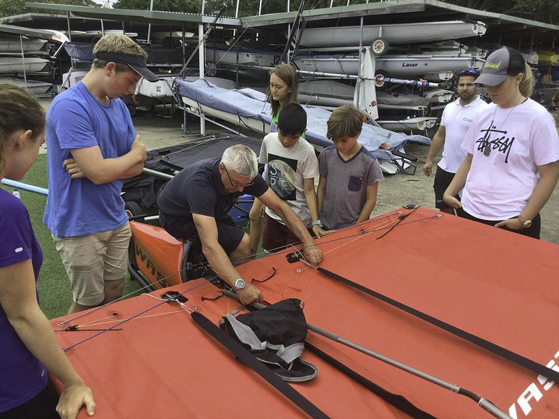 Learning form the Master (A-Mac) at the Harken Kidz Trials as part of Foiling Week - photo © Grant Pellew