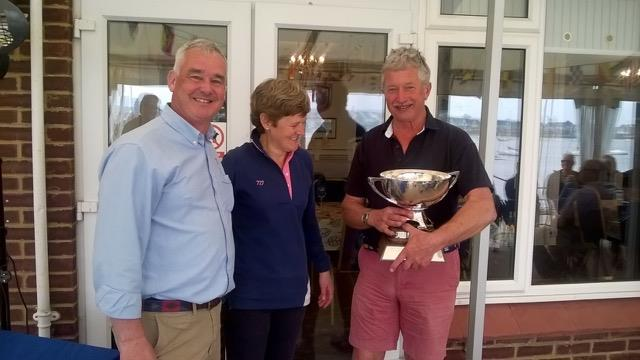 Third overall and best placed MYC boat at the Wayfarer Eastern Area Championship, Richard Stone (r) and Catherine Gore with MYC Commodore, Mark Penny photo copyright Jamie Blair taken at Medway Yacht Club and featuring the Wayfarer class