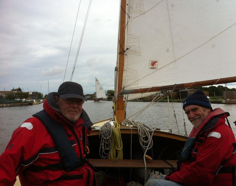 Chasing Wayfarers in a Half-Decker during the Wayfarer International Rally on the Norfolk Broads - photo © Thierry Grenier