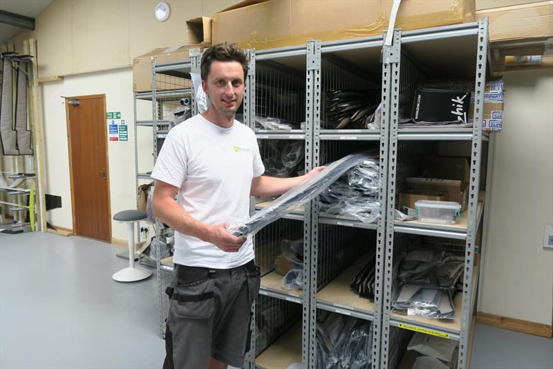 Simon Maguire at the newly opened on-site spares store allowing owners to order spares and upgraded parts online - photo © Jake Kavanagh