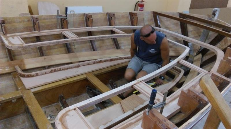 The frame for the seats has been positioned and sits neatly  and level  on the frames. The knees have also been placed and will be attached using fillets.  - photo © Wessex Resins & Adhesives